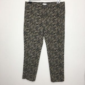 J. JILL Black Paisley Print Stretch Ankle Pants